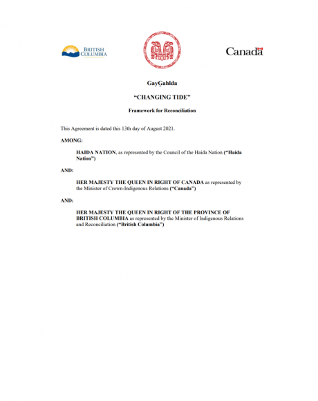GayGahlda Changing Tide Framework for Reconciliation cover page with logos of Haida Nation, Government of British Columbia and the Government of Canada