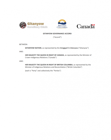 Cover Page of Gitanyow Governance Accord document with logo of Gitanyow Hereditary Chiefs, Government of British Columbia and Government of Canada